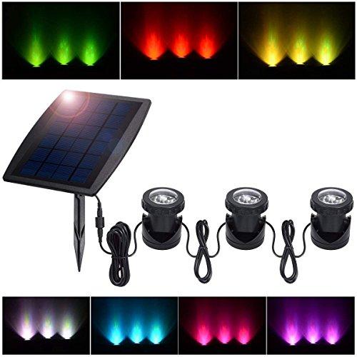PChero 3 Solar Unterwasser RGB LED Teichbeleuchtung mit Lichtsensor Sonnenkollektor for Garten Landschaft Teich Pool Brunnen Rasen
