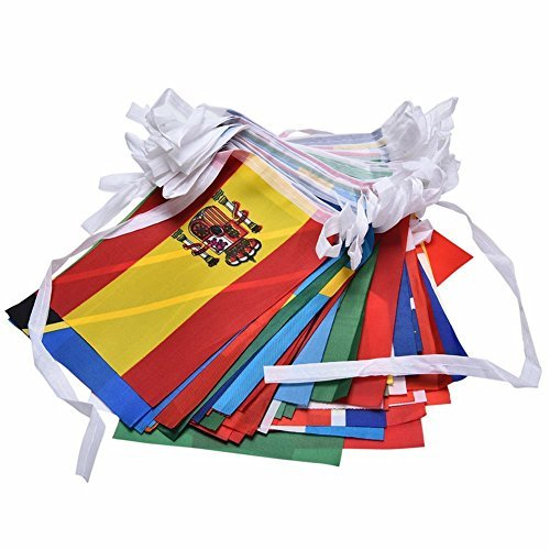 Foto de 37YIMU 100 países banderas 82ft internacional banderas banderines bandera para decoraciones fiestas, inauguración, Juegos Olímpicos, barra, Clubs deportivos, escuela, estudios culturales y eventos más