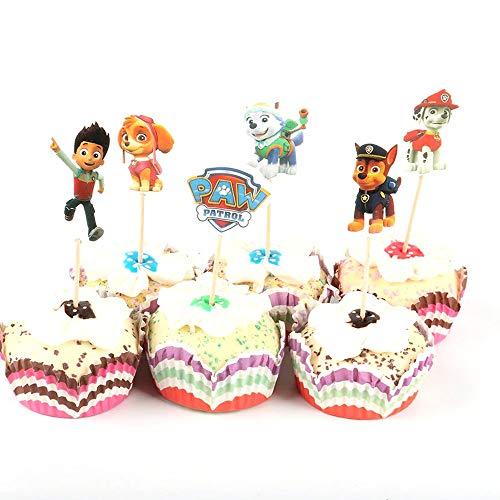 TopschnaeppchenDSH 12 (2x6) Paw Patrol Party Deko Cup Cakes Sticks Party Picker Kindergeburtstag