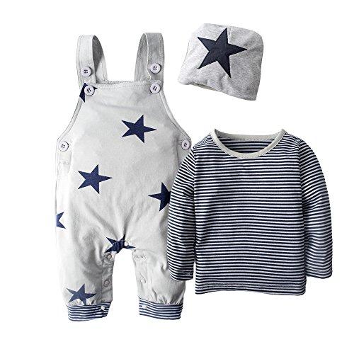 Big Elefant 3 Stück Baby Jungen Langarm-Overalls Kleidung Set Mit Hut H92A, Grau - 3-6 Monate (70)