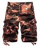 Aieoe Männer Vintage Camouflage Cargo Shorts Sommer Sport Kurze Hose Bermuda Loose-Fit Freizeit Hose Sporthose