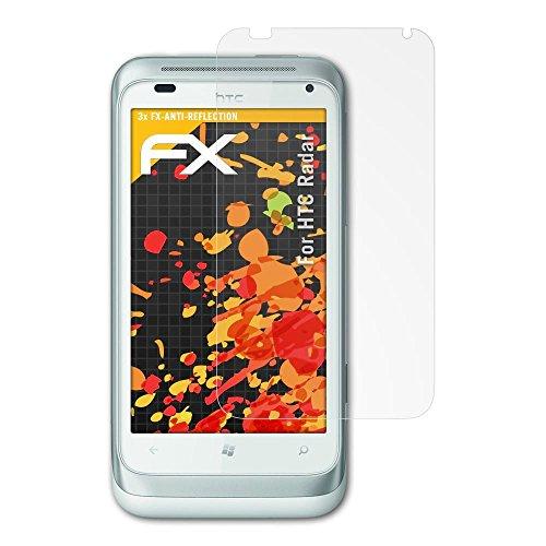 atFolix Panzerfolie kompatibel mit HTC Radar Schutzfolie, entspiegelnde und stoßdämpfende FX Folie (3X) Htc-htc Radar