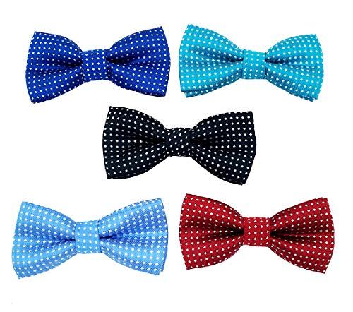 BIPY Halsband-Zubehör für Haustiere, mit Schleifen, dekorative Schleifen, für Katzen, Welpen, kleine und mittelgroße Haustiere, 5 Stück