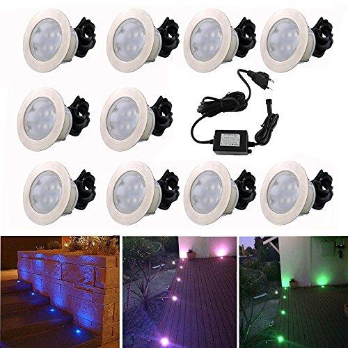 10x Lampe de Spot Encastrable LED Ø60mm RGB pour Terrasse Enterré Plafonnier, 30lm DC12V IP67 Etanche Acier inoxydable avec Télécommande Dimmable, Exterieur luminaire Eclairage Décoration pour Jardin Chemin Couloir Bassin Piscine