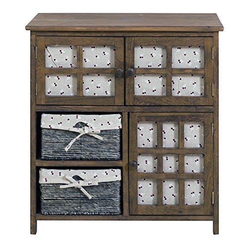Rebecca srl armadio dispensa cassettiera 3 ante 2 cassetti vimini legno marrone country rustico cucina bagno (cod. re4096)