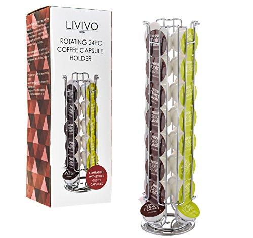 Soporte para cápsulas de café Livivo®, soporte para organizar y mostrar las cápsulas de café con estilo, ayuda a liberar espacio en la cocina; torre de soporte y dispensador con base de fieltro antideslizante, hecha de acero inoxidable, cromada, de alta c