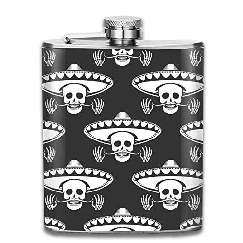Sdltkhy Mustache Skull in Sombrero Pocket Hip Flask - 7oz Flasks