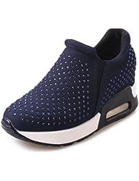 NEWZCERS La manera de las mujeres que camina el deporte ocasional calza las zapatillas de deporte con el rhinestone