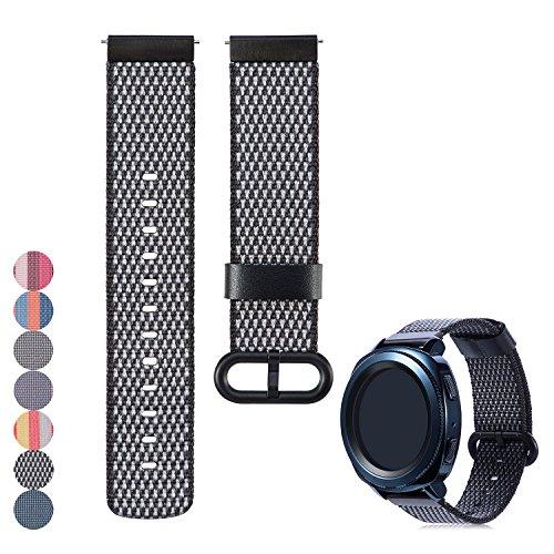 Universal 20mm Schnelle Veröffentlichung Gewebtes Nylon Uhrenarmband Strap, iFeeker Zubehör Ersatz Nylon Uhrenarmband Wrist Sport Strap Armband für Samsung Gear Sport SM-R600 / Gear S2 Classic SM-R732 / Motorola Moto - Sport-armband Männer Für