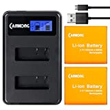 CAMKONG 2 Pezzi 1350mAh Action Cam Batteria Ricaricabile + LCD Dual USB Caricabatterie per APEMAN/AKASO/ODRVM/Victure/Crosstour