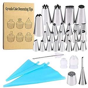 como limpiar tuberias: Boquillas para manga pastelera, Gyvazla 32pcs Set Incluir 20 Boquillas, 5 Boquil...
