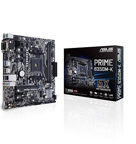 Asus Prime B350M-K-Placa Base (procesador DDR4-SDRAM, Socket AM4, Compatible con AMD A,Athlon,Ryzen)