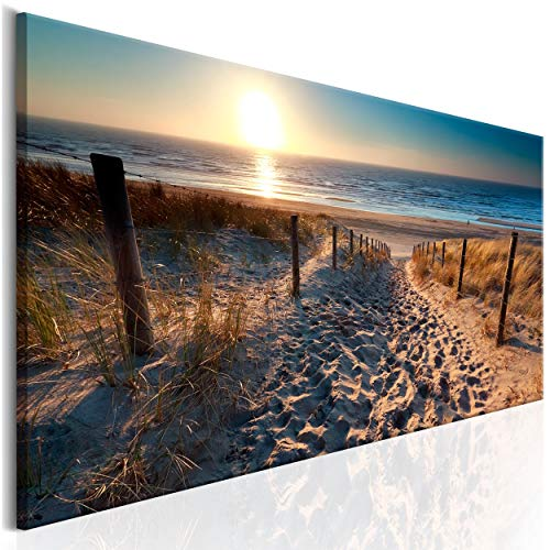 decomonkey Bilder Strand Sonnenuntergang 120x40 cm 1 Teilig Leinwandbilder Bild auf Leinwand Vlies Wandbild Kunstdruck Wanddeko Wand Wohnzimmer Wanddekoration Deko Meer Natur Landschaft