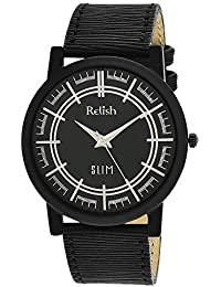 RELISH RE-S809BB SLIM Black Dial Analog Watch For Mens & Boys