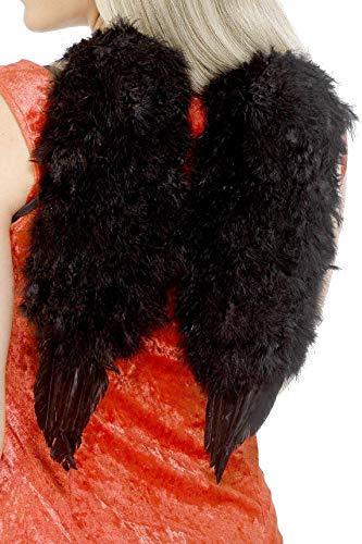 Smiffys Damen Schwarze Engelsflügel, 30cm x 40cm, Schwarz, 20896