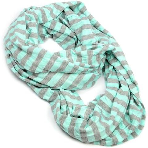 Bright de Pascua de colores diseño a rayas Infinity bufanda de doble aro, diseño de patrón de tela bufandas de piel de cebra y pantalla a juego para de mujer para senderismo, NL-2002