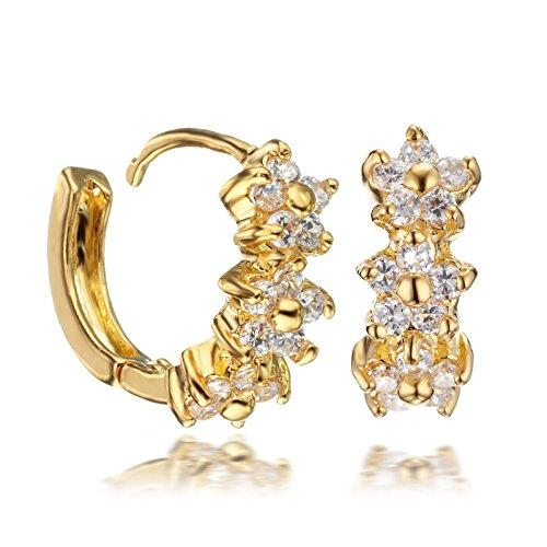 Gemini dicono le donne s in oro giallo 18 k, con Swarovski Crystal-Orecchini a cerchio Huggie per Gm079 da donna