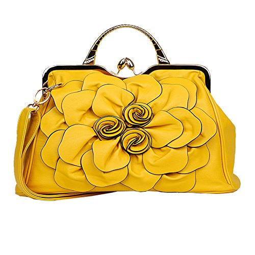 Molly Donna Decorazione Floreale Leisure Manico In Metallo Borsa A Tracolla Borsetta Giallo
