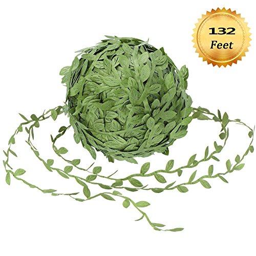 TIANXIN Künstliche Reben, 132 Fuß Gefälschte Hängepflanzen Seidengirlanden Simulation Laub Rattan Grün Blätter Ribbon Kranz Zubehör Hochzeit Wand Handwerk Party Decor Green