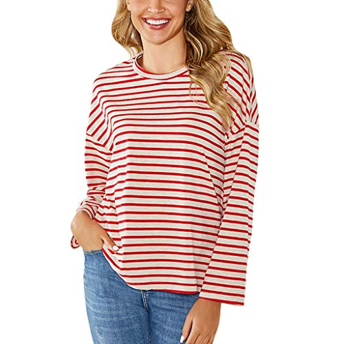Womens T-Shirt Sale BOIYI Round Neck Long Sleeve Striped Stitching Casual Loose Blouse Shirt Pullover(Pink,S) - Short Sleeve Striped Khaki