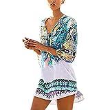 feiXIANG Damen Kleid Kleider Mädchen Badeanzug Druckkleider Bademode Dress Chiffon Bluse Bikinijacke Beach Kleid Freizeit V-Ausschnitt Minikleid (Freie Größe, Rosa)