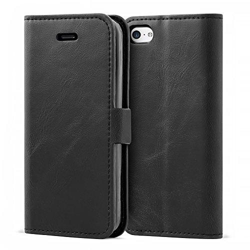 Mulbess iPhone 5C Hülle Leder, Handyhülle für iPhone 5C Klapphülle Tasche Leder Flip, Schwarz