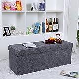 Songmics Linen Fabric Folding Storage Ottoman Bench with Thickened Sponge Grey 110 x 40 x 38 cm LSF91K