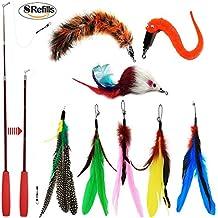 Juguete de varita con plumas retráctil, para gatos, interactivo, con 8 repuestos de
