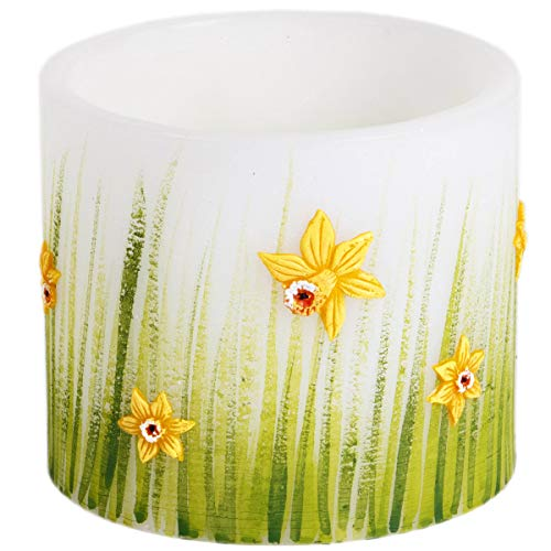 Adpal Kerzenmanufaktur Ostern Lampion Zylinderform 135 x 145 mm weiß grün Kerze