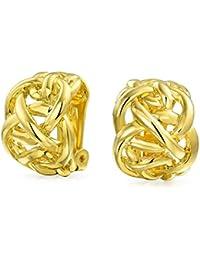 23bb1a5fc98c Latón chapado en oro de Bling Jewelry Nudo celta la mitad del aro  pendientes de clip