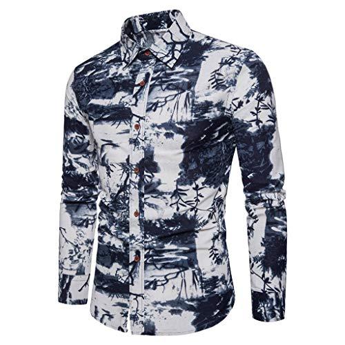 Dwevkeful Langarm Top Herren Freizeithemd Langarmshirts MäNner Shirt Ethnischen Wind Revers Button PersöNlichkeit Hemden Sweatshirt Marine Kaffee Knit Wind Jacke