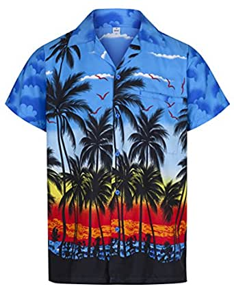 Mens Hawaiian Shirt Short Sleeve STAG Beach Holiday Palm Tree Fancy Dress Hawaii - All Sizes (Small, Blue)