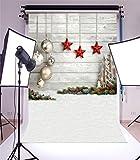 YongFoto 1,5x2,2m Foto Hintergrund Weihnachten Vinyl Holz-Wand-Dekor Anhänger Bälle Sterne Winterschnee Fotografie Hintergrund Foto Leinwand Kinder Fotostudio 5x7ft