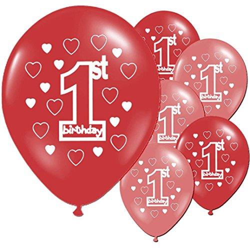 Dragon868 [10 StüCk Rot Blauer Ballon Baby Mädchen Junge 1. Geburtstagsparty Latex Gedruckt Ballon Party Deko (Rot, Ballon) (Ballon Emoji Roter)