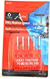 Ozelaplus Sizes 70/80/80/90/100 Universal Sewing Machine Needles for General Use, Pack of 5, Silver