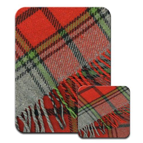 Mauspad und Bierdeckel-Set, Motiv Schottischer roter Wollschal