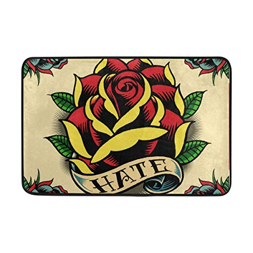 deyhfef Rose Ribbon and Roses Frame Doormat, Entry Way Indoor Outdoor Door Rug with Non Slip Backing 31.5 X 19.5 Inch