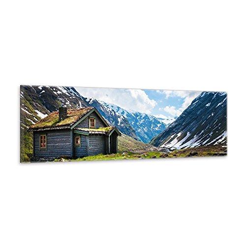 malango® Leinwandbild Almhütte Berghütte Landschaft Panorama Wanddesign Fotoleinwand handgefertigt Alpen Berge Natur Hütte Bild Foto Wanddekoration 150 x 40 cm
