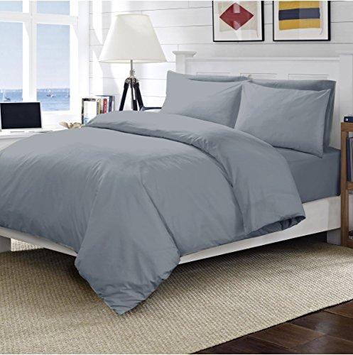 Drap-housse luxueux 200 fils/cm² 100% coton égyptien disponible en plusieurs couleurs et tailles, gris, Taie d'oreiller housewife