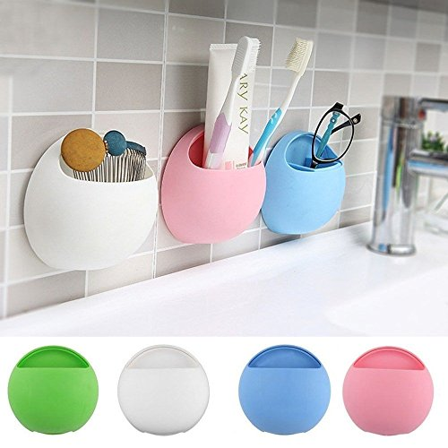 A & T New Creative Home Bathroom Toothbrush Holder Wall Mount Suction Cup Toothpaste Storage Rack/ 2pcs