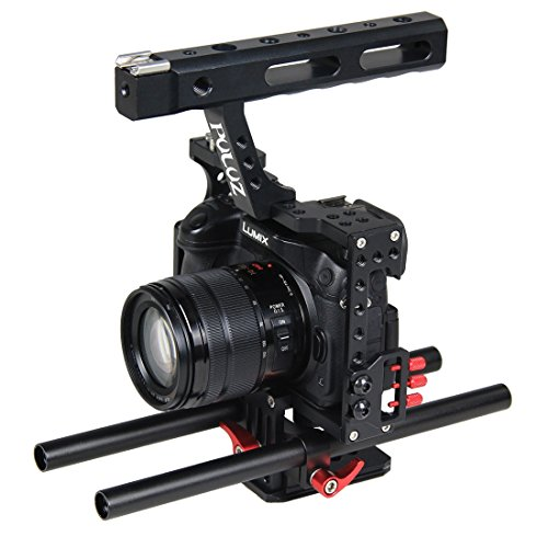 PULUZ Kamera Video Handkäfig Aluminiumlegierung Stabilisator Steadicam Kamerahandkoffer für Panasonic G7 Lumix DMC-GH4 GH3 GH1 DMC-FZ2500 / SONY A7 A7SII A7SII A7R A7RII A7RII A7II A7000 A6300 A6300 A