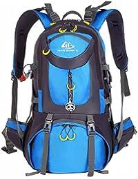 Mochila de senderismo impermeable de 50 l de volumen; mochila de acampadas, para acctividades al aire libre; mochila de viaje; mochila de ciclismo; mochila de estudiantes; mochila de esquí; mochila de caza; mochila deportiva; con reflector con forma de panda., color azul, tamaño 50 L, volumen liters 50.0
