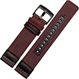 24mm Militär Armee Braun Nylon Stoff Leinwand Uhrenarmband rot Naht schwarz Schnalle