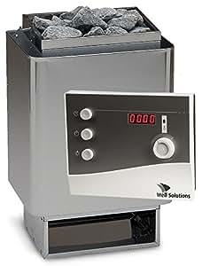 Well Solutions Saunaset 34A Sauna Ofen 7,5 kW aus Edelstahl – Made in Germany inkl. Steuerung K2 mit Zeitvorwahl, Saunasteine