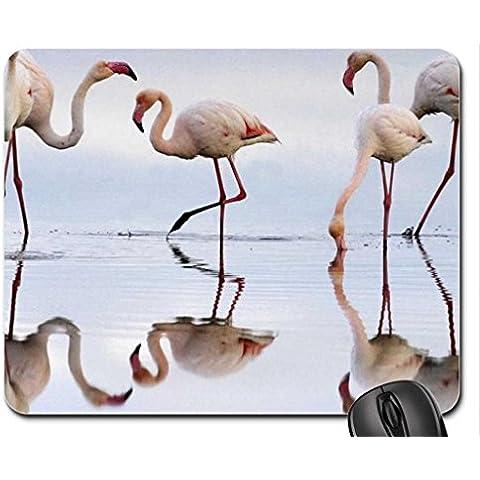Flamingos-in-Fuente-de-Piedra-Lagoon Mouse Pad, Mousepad (Birds Mouse Pad)