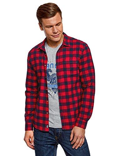 Oodji ultra uomo camicia in cotone a quadri, rosso, 42.5cm/it 50-52/eu 52-54/l
