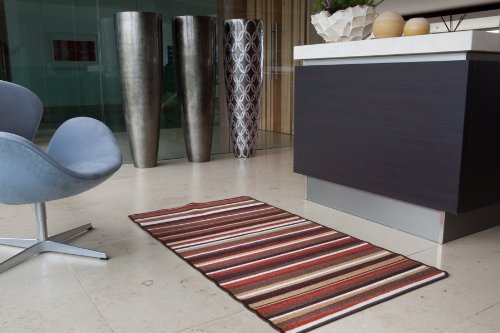 Terracotta Stripe Cheap Non slip Machine Washable Entrance Mat Luna - 9 sizes available
