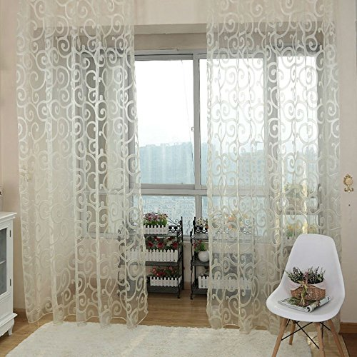 Generic Colorful Flocking Sheer Curtain Panel Window Balcony Tulle Panel 100*200cm - white