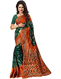 Regent-e Fashion Women's Cotton Silk Saree (Green & Orange)