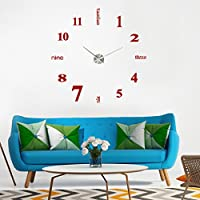 STRIR Mini Acrílico moderno DIY reloj de pared 3D Espejo superficie adhesivo Home Office Decor (Rojo)